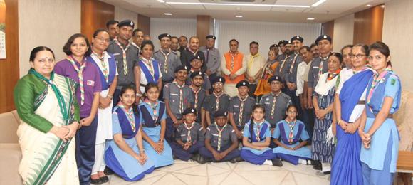 ગુજરાત સ્ટેટ ભારત સ્કાઉટ એન્ડ ગાઈડની ટીમ દ્વારા મુખ્યમંત્રી વિજયભાઇ રૂપાણી સાથે શુભેચ્છા મુલાકાત