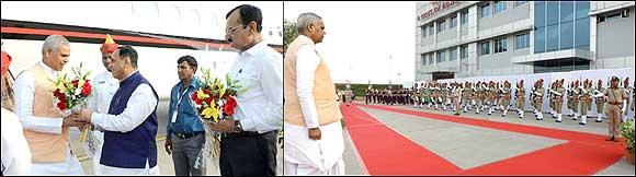 ગુજરાતના નવા વરાયેલ પદનામિત રાજ્યપાલ આચાર્ય દેવવ્રતનું  એરપોર્ટ પર મુખ્યમંત્રી  રૂપાણીએ કર્યું સ્વાગત
