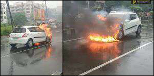 સુરતના અડાજણમાં પેટ્રોલનો પાઇપ લીક થતાં કારમાં આગ ભભૂકી : ચાલકનો આબાદ બચાવ
