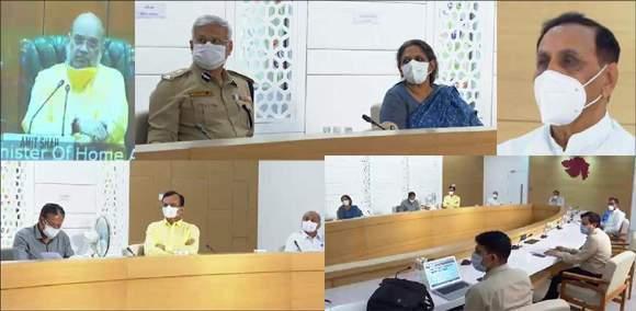 ગુજરાત પર સંભવિત 'નિસર્ગ' વાવાઝોડાની સ્થિતી સંદર્ભે કેન્દ્રીય ગૃહમંત્રીએ  અને મુખ્યમંત્રી  રૂપાણી સાથે વિડીયો કોન્ફરન્સ  યોજી