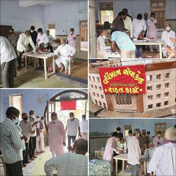 જૈન તીર્થધામ ઉપરીયાળાજી ખાતે 122 પરીવારોને અનાજ કરીયાણાની કીટ આપવામાં આવી