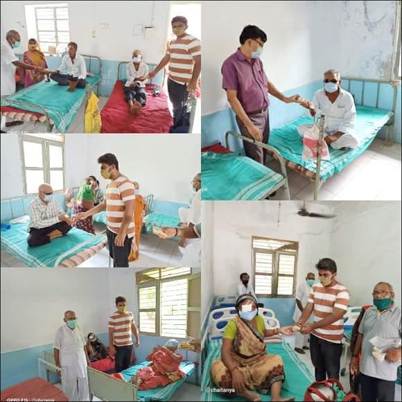 રામપુરા ખાતે ચંપા વિજ્યા જનરલ હોસ્પિટલમાં દર્દીઓને બિસ્કીટ વિતરણ કરાયુ