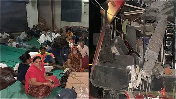 મુંબઇથી રાજસ્થાન જતી વિજય લક્ષ્મી ટ્રાવેલ્સની બસને અકસ્માત નડતા ૧ મુસાફરનું મોત પાંચ ઘાયલ
