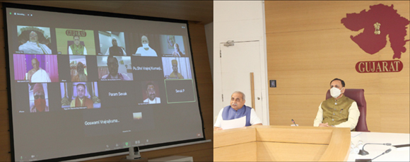 સમાજના સંતો, ધર્મના વડાઓ અને સરકારના સંયુકત પ્રયાસોથી કોરોના હારશે અને ગુજરાત જીતશે : મુખ્ય મંત્રી વિજયભાઈ રૂપાણી