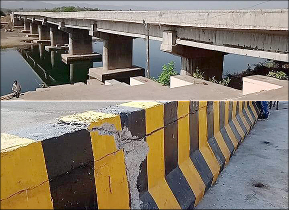 રાજપીપળા કરજણ નદી પર બનેલા નવા બ્રિજનો પીલ્લર બેસી જતા બંને તરફ તિરાડો : ભ્રષ્ટાચારની બૂમ