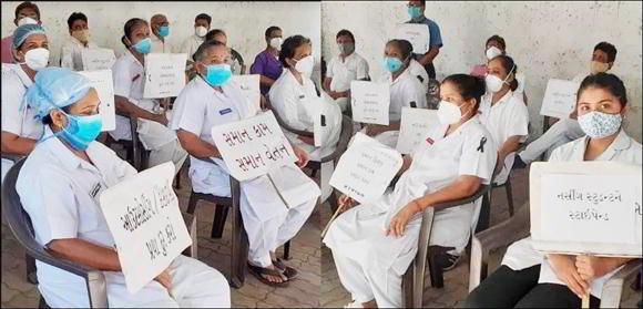 સુરતમાં નર્સ-ડેના દિવસે જ નર્સિંગ સ્ટાફનું વિરોધ પ્રદર્શન