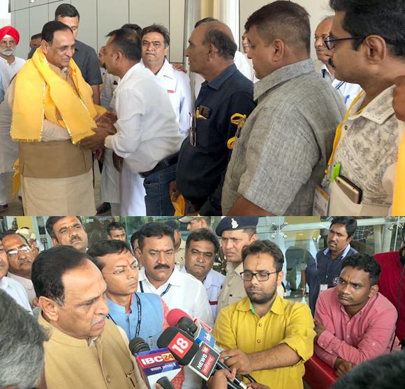 છત્તિસગઢ ખાતે સદાકાળ ગુજરાતના કાર્યક્રમનો પ્રારંભ કરાવવા પહોંચેલા મુખ્યમંત્રી વિજયભાઇ રૂપાણીનું એરપોર્ટ ખાતે ગુજરાતી સમાજ દ્વારા ઉમળકાભેર સ્વાગત કરાયું