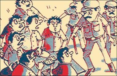 મહુધાના સાપલા ગામે પોલીસ સાદા ડ્રેસમાં જુગાર દરોડો  પાડવા ગયેલી પોલીસને લોકોએ પશુચોર સમજી ધોકાવ્યા