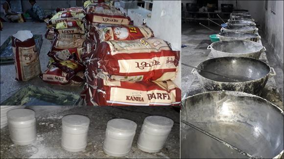 ગાંધીનગર પંથકમાં નકલી માવો બનાવતી ત્રણ ફેકટરીઓ ઝડપાઇ 4106 કિગ્રા બરફી અને 547 કિગ્રા સફેદ પાવડરનો જથ્થો જપ્ત
