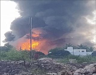 ગોધરાના વેજલપુર નજીક નાદરખા પાસે કેમિકલ કંપનીમાં ભીષણ આગ : 10 કી,મી, સુધી ધુમાડાના ગોટેગોટા દેખાયા